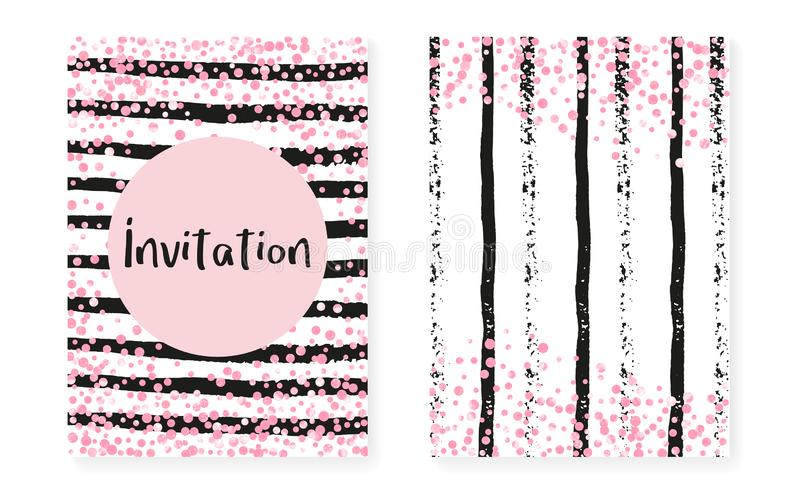 Pink glitter sequins with dots. Wedding and bridal shower invita vector illustration