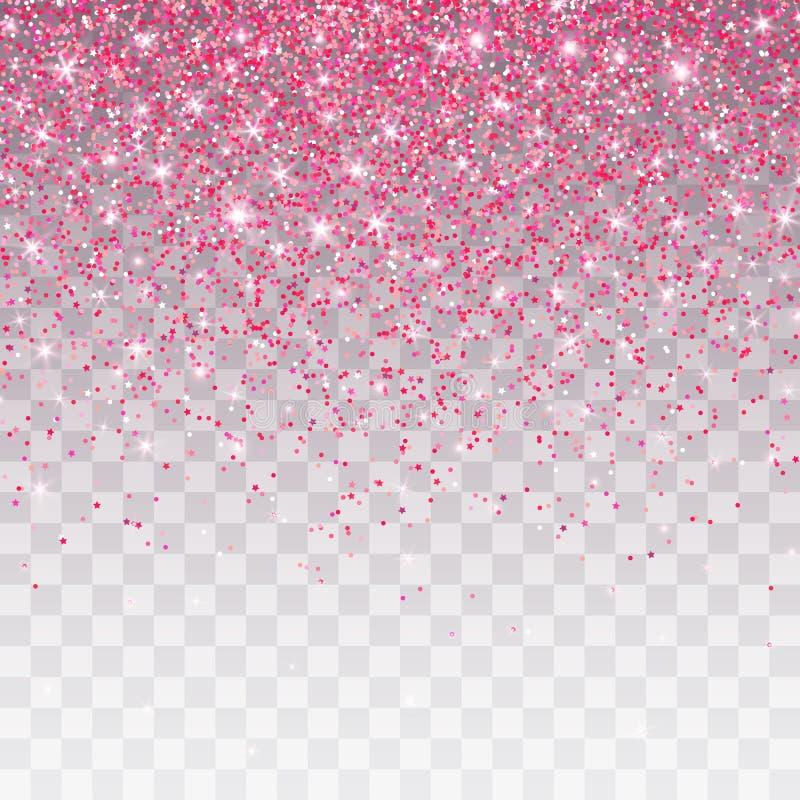 Pink glitter sparkle on a transparent background. Vibrant background with twinkle lights. Vector illustration.  stock illustration