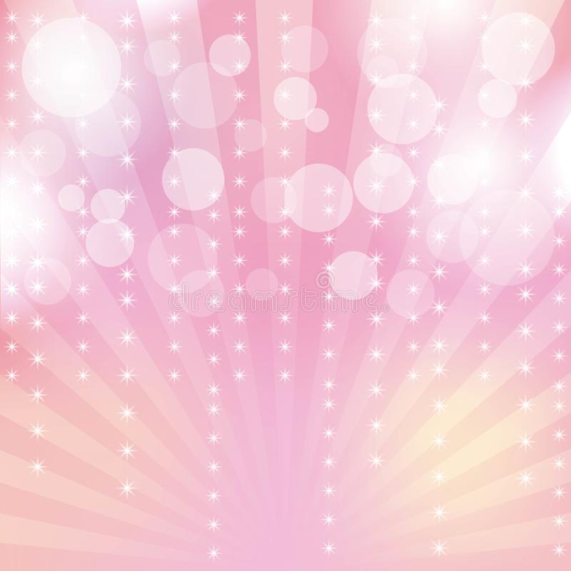 Pink glitter sparkles rays lights bokeh and star festive abstract background stock illustration
