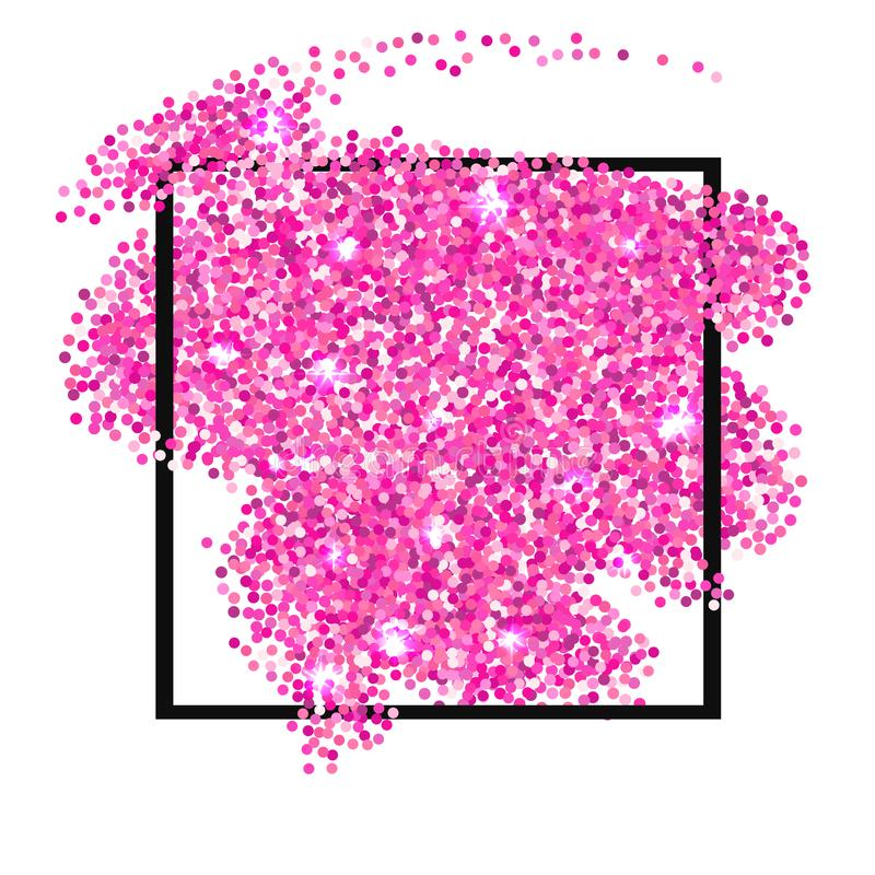 Pink glitter texture border isolated over white background vector illustration
