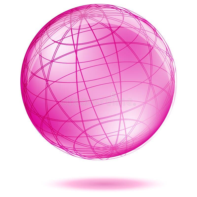 Pink globe vector illustration