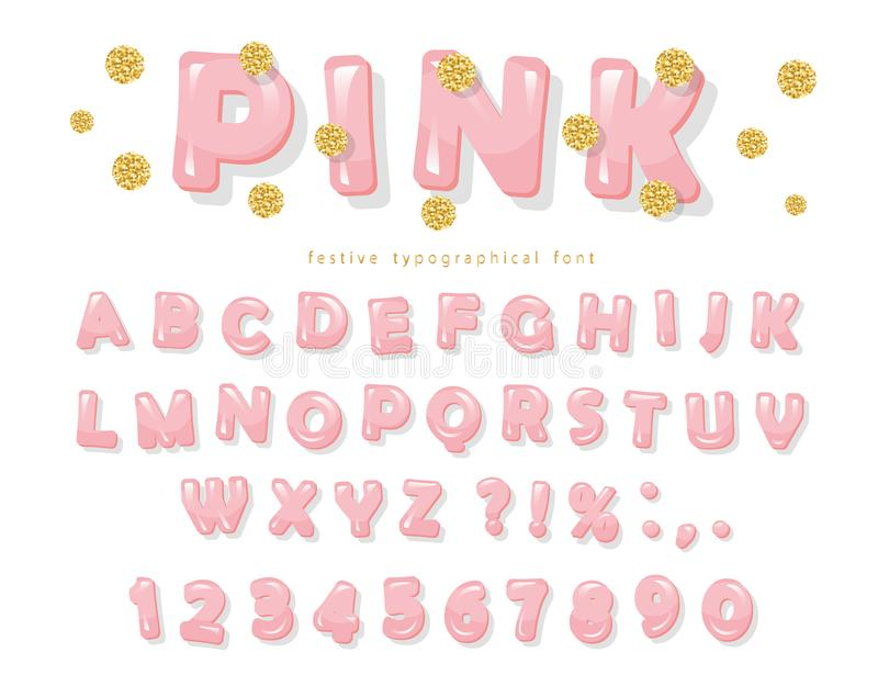 Pink glossy font. ABC letters and numbers for girls. Gold glitter confetti. Vector stock illustration