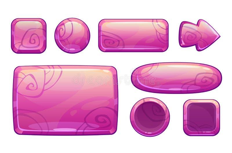 Pink glossy game assets set royalty free illustration
