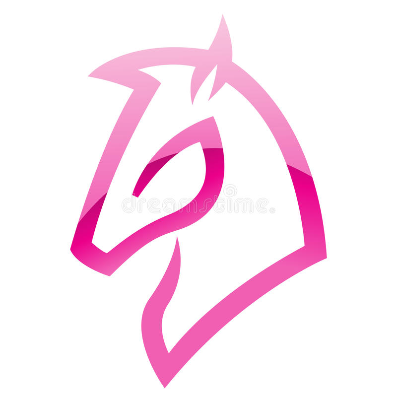 Pink Glossy Horse Icon royalty free illustration
