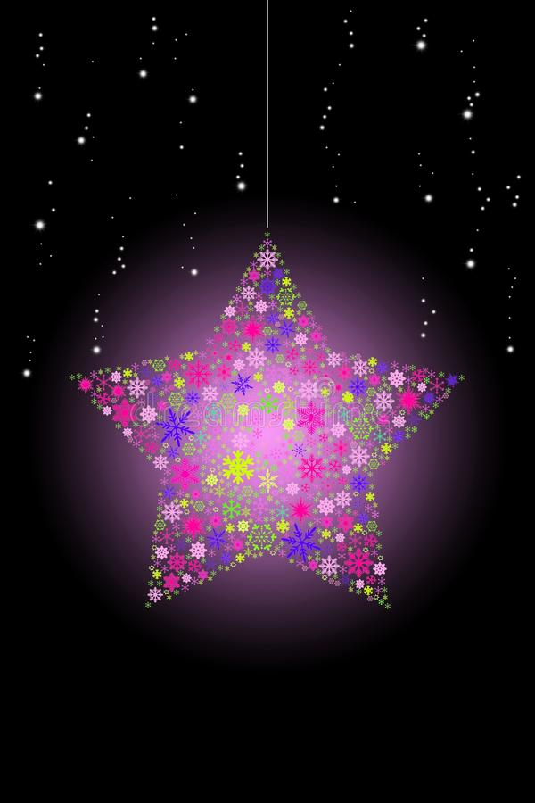 Download Pink Glowing Christmas Star Hanging With Snow Stock Illustration - Illustration: 27159734
