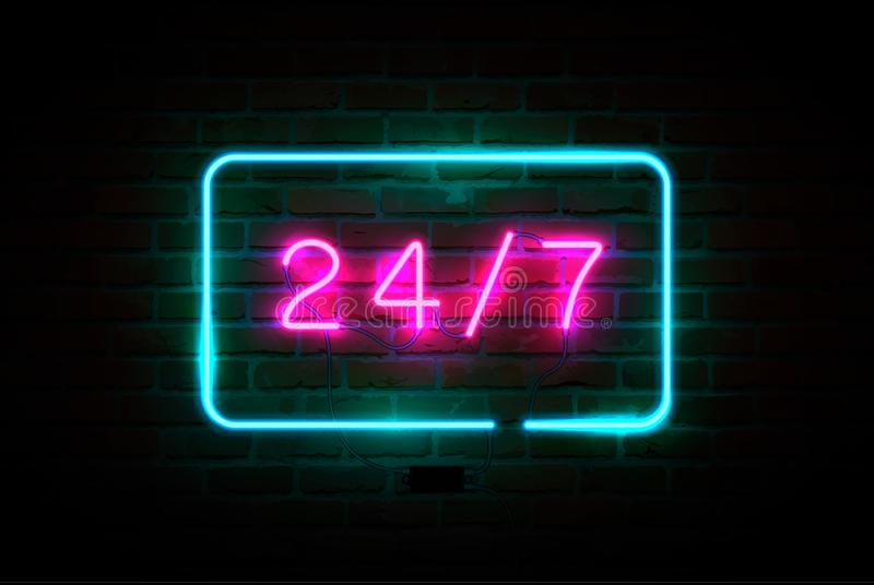 24 on 7 pink glowing neon signboard. Blue rectangular neon frame. Vector illustration vector illustration