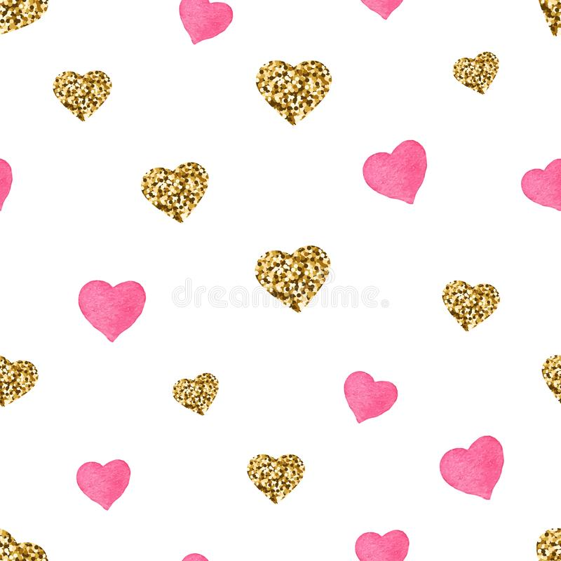 Pink and gold glitter hearts seamless pattern. Cute Valentines Day background. Golden hearts with sparkles and star dust royalty free illustration