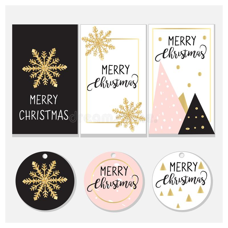 Christmas tags and cards design. Elegant design: Pink, gold and Black. Vector design stock illustration