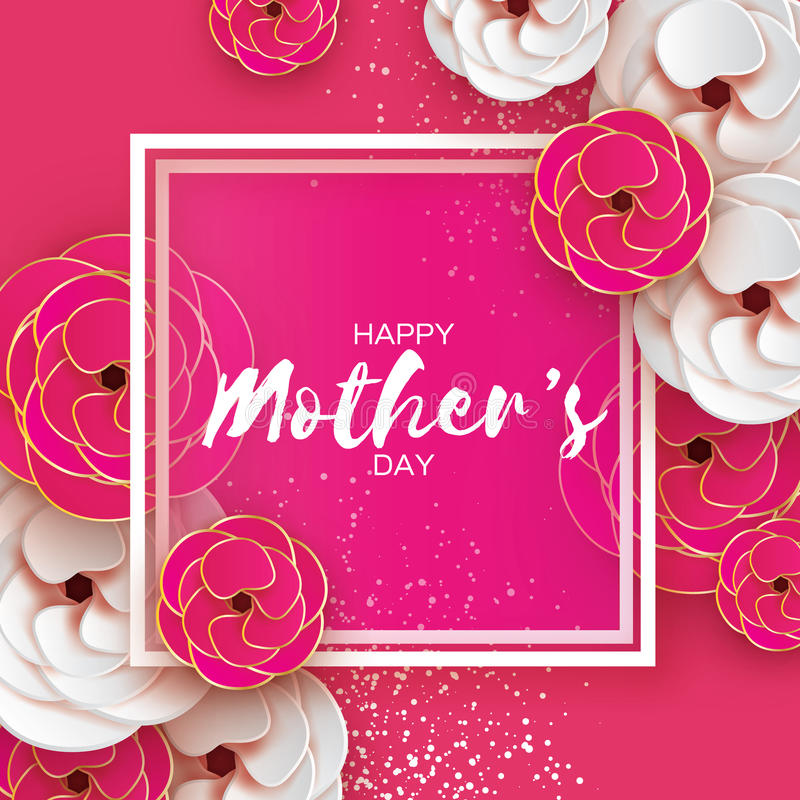 Pink Gold Happy Mothers Day Greeting card. Women`s Day. Paper cut flower. Origami Beautiful bouquet. Square frame. text. Happy Mothers Day. Gold Pink Floral royalty free illustration
