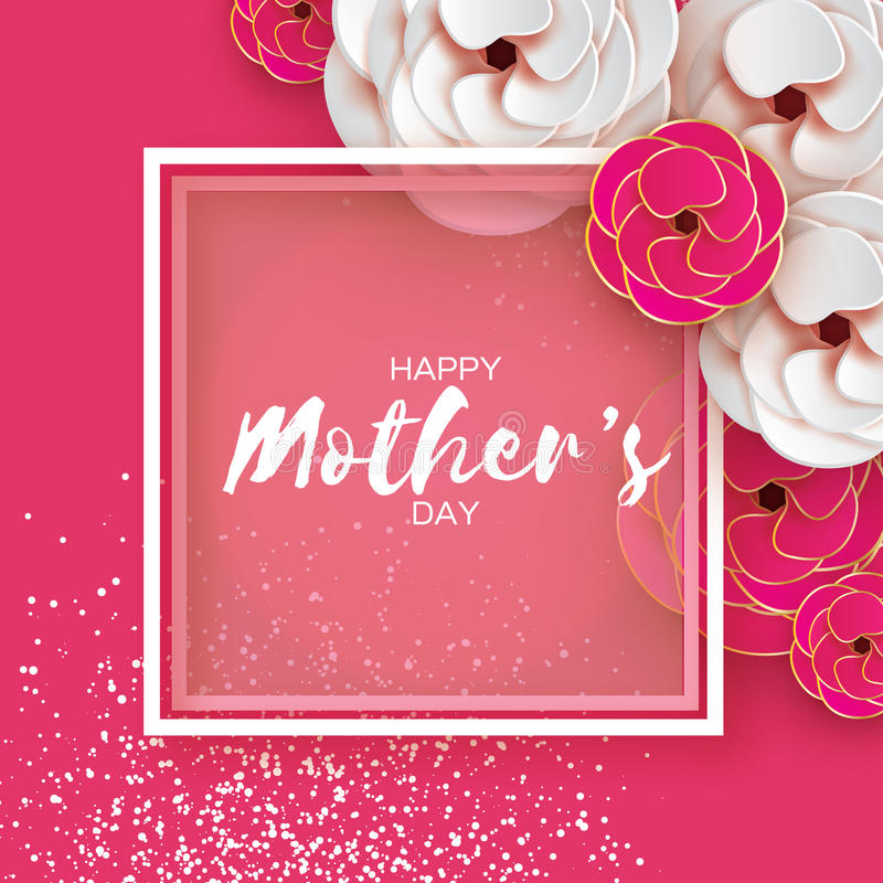 Pink Gold Happy Mothers Day Greeting card. Women`s Day. Paper cut flower. Origami Beautiful bouquet. Square frame. text. Happy Mothers Day. Gold Pink Floral stock illustration