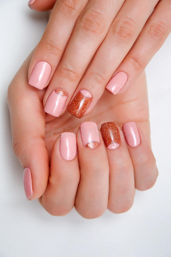 Pink Gold Manicure On Short Square Nails Stock Photo - Image of ...