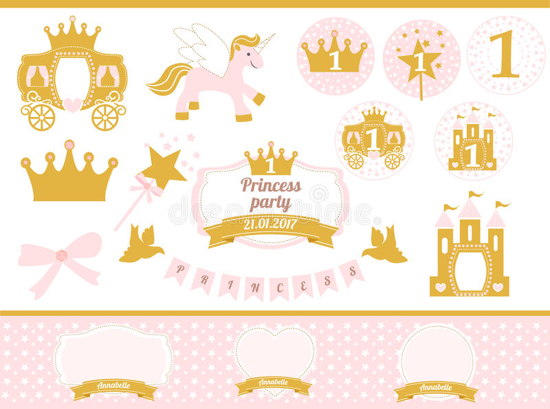 Pink and gold princess party decor. Cute happy birthday card template elements. royalty free illustration
