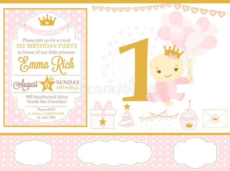 Pink and gold princess party decor. Cute happy birthday card template elements. Birthday party and girl baby shower design elements set. Seamless pattern stock illustration