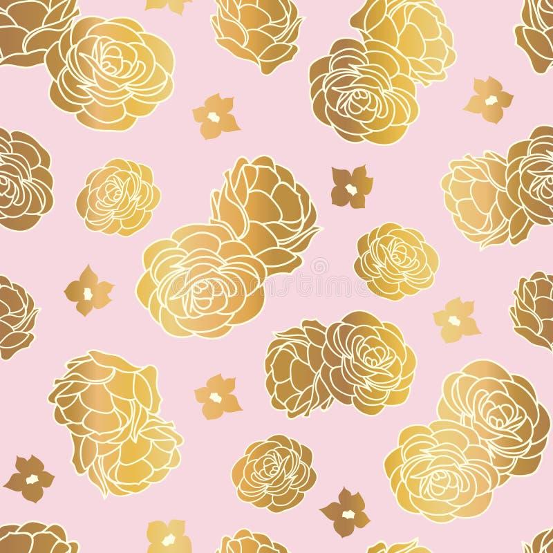 Pink gold rose garden seamless vector repeat pattern stock illustration
