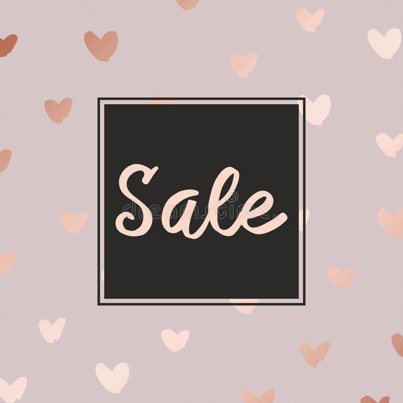 Pink gold. Sale. Decorative background for sales stock illustration
