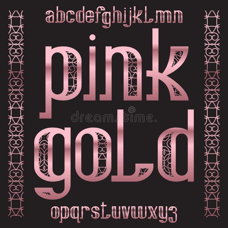Pink Gold typeface. Rose golden patterned font. Isolated ornate english alphabet stock illustration