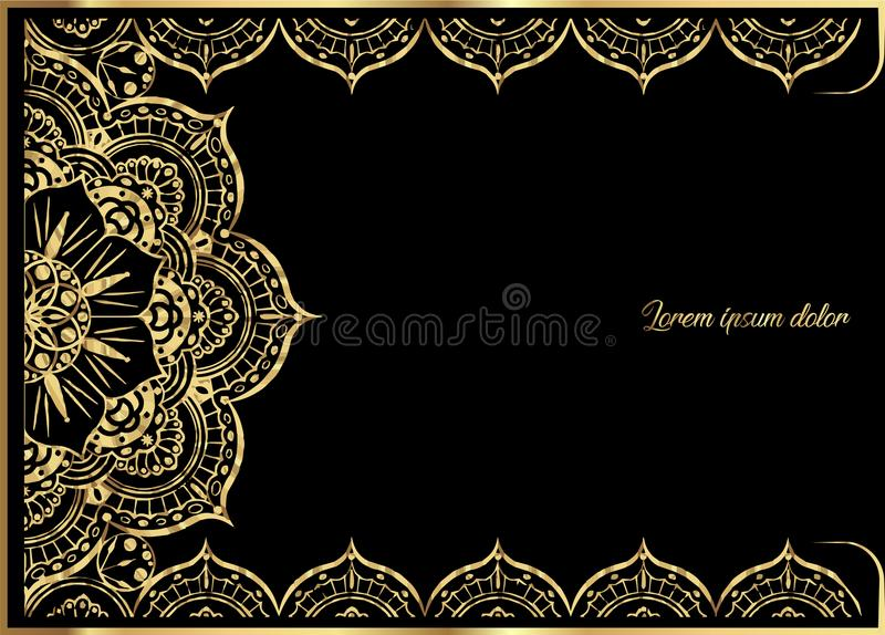 Pink Gold vintage greeting card on black background. Luxury ornament template. Great for invitation, flyer, menu, brochure. Postcard, background, wallpaper royalty free illustration