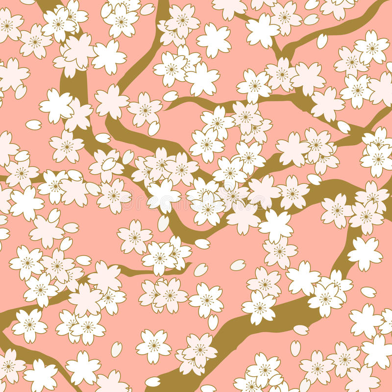 Pink and golden cherry blossom flower pattern background. royalty free illustration