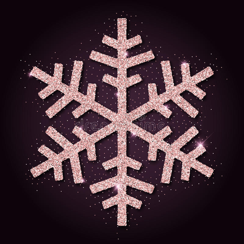 Pink golden glitter beauteous snowflake. Luxurious christmas design element, vector illustration vector illustration