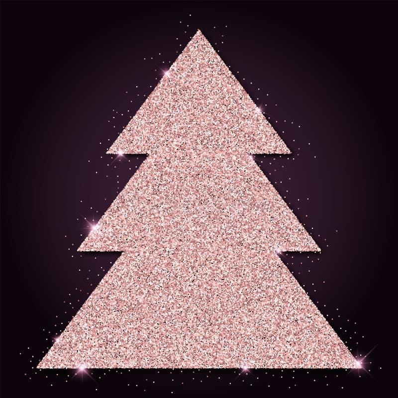 Pink golden glitter lovely christmas tree. Luxurious christmas design element, vector illustration stock illustration