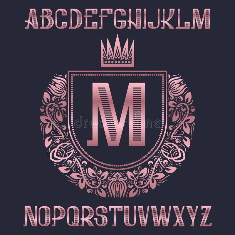 Pink golden letters with coat of arms template. Awesome font and elements kit for logo design.  vector illustration