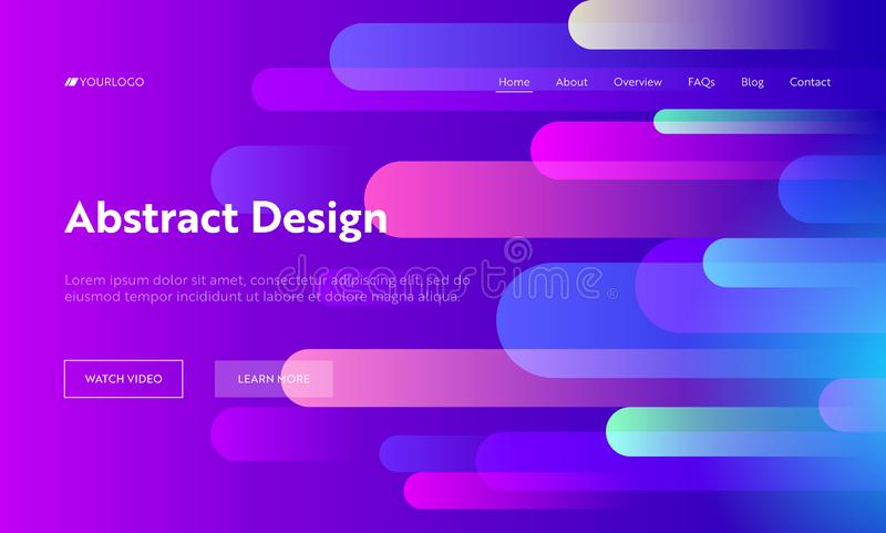Pink Gradient Abstract Background Geometric Horizontal Drop Shape Landing Page. Futuristic Bright Violet Pattern Neon royalty free illustration