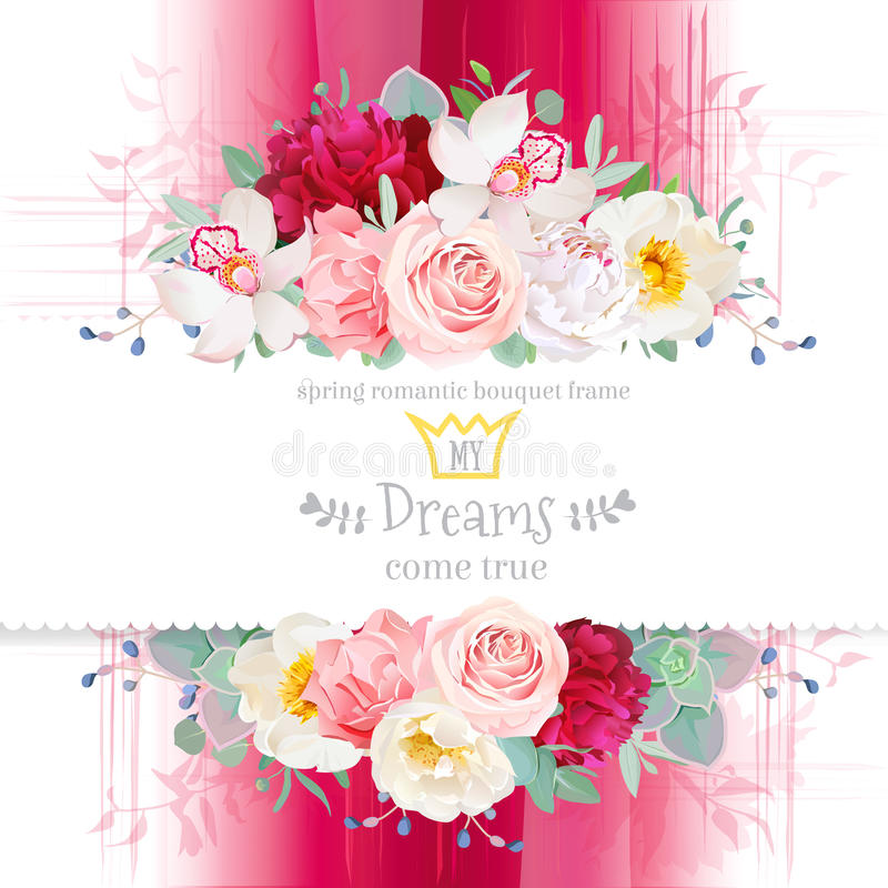 Pink gradient background with flowers frame in watercolor style. stock illustration