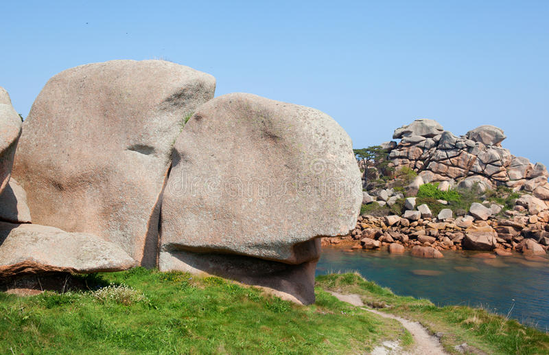 Pink granite coast in Brittany stock photography
