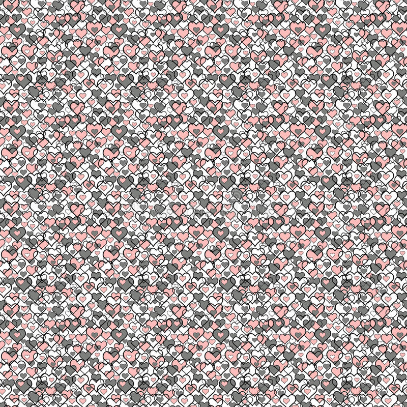 Pink and gray hearts. Seamless pattern royalty free stock photography