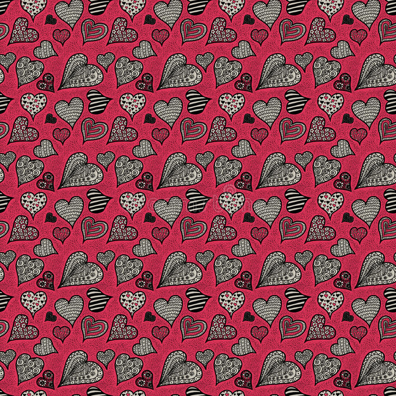 Pink and gray hearts. Seamless pattern stock photos