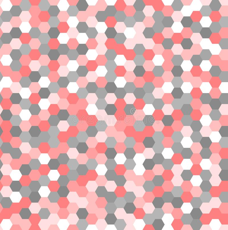 pink gray and white hexagon shapes. vector seamless pattern. simple geometric background. abstract texture. textile paint stock illustration