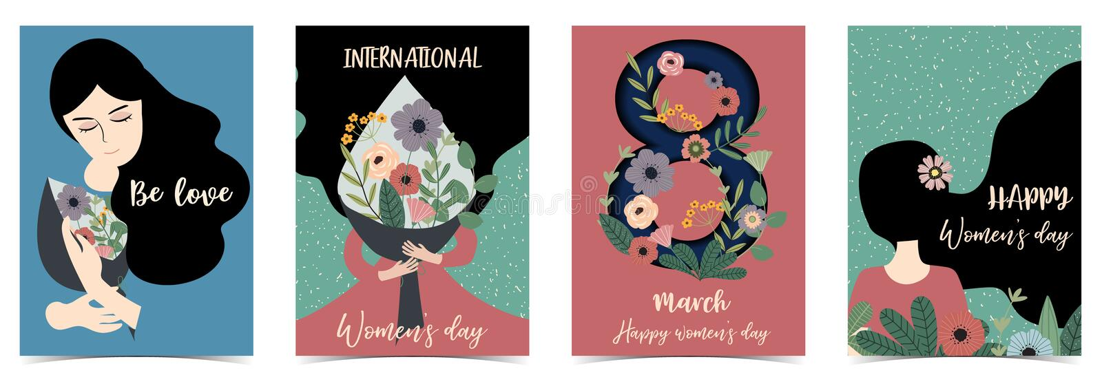 Pink green blue International Happy Women`s Day with women,flower stock illustration