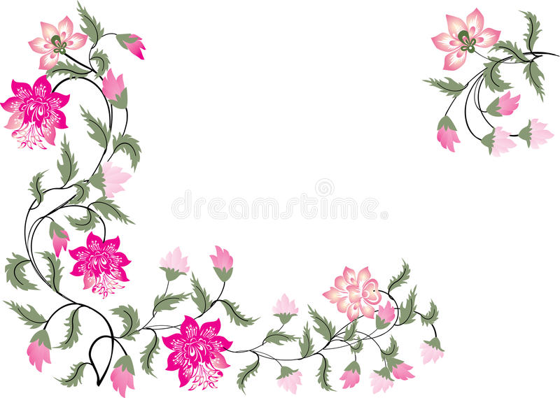 Download Pink And Green Floral Corners Royalty Free Stock Photo - Image: 14681245