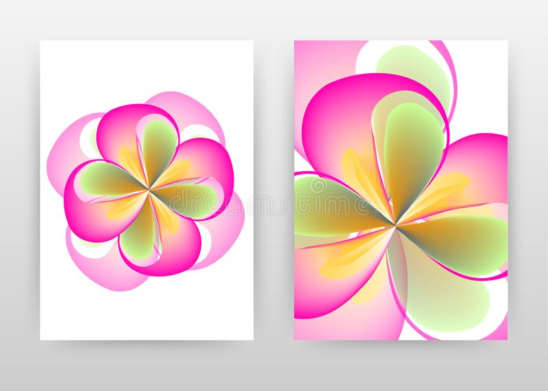 Pink green flower petal concept abstract design of annual report, brochure, flyer, poster. Colorful flower concept background. Vector illustration flyer stock illustration