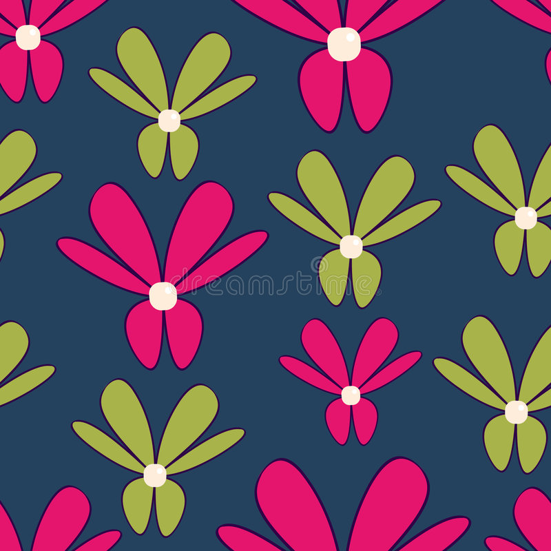Pink and green flowers stock illustration