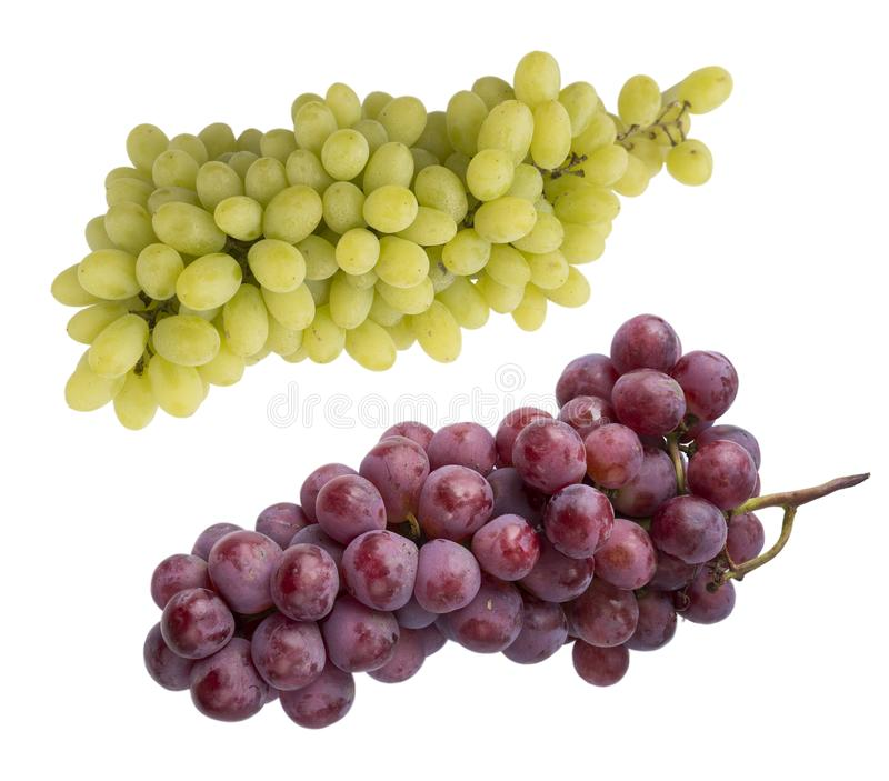Pink and green grapes isolated on white background. Top view. Bunch of pink grape and green grapes Kishmish isolated on white back. Ground. Red grape isolated on stock image