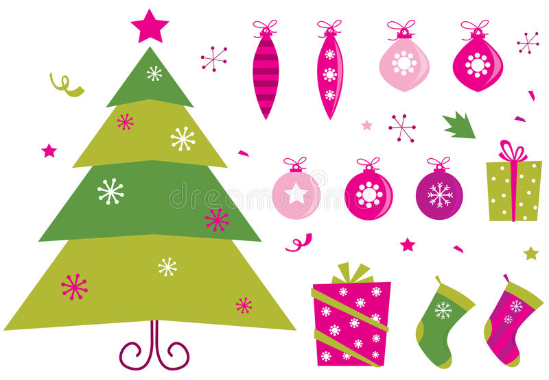 Pink and green retro christmas icons and elements royalty free illustration