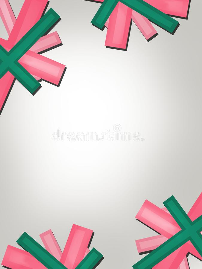 Pink and green ribbon overlap abstract background. Vertical creative background royalty free illustration