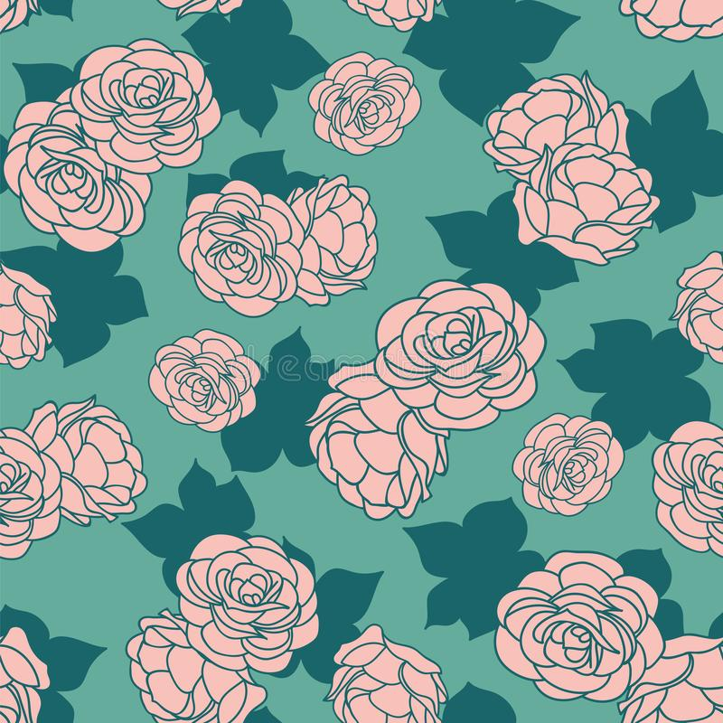 Pink green rose garden with shadow seamless vector repeat pattern. Background. Surface pattern design stock illustration