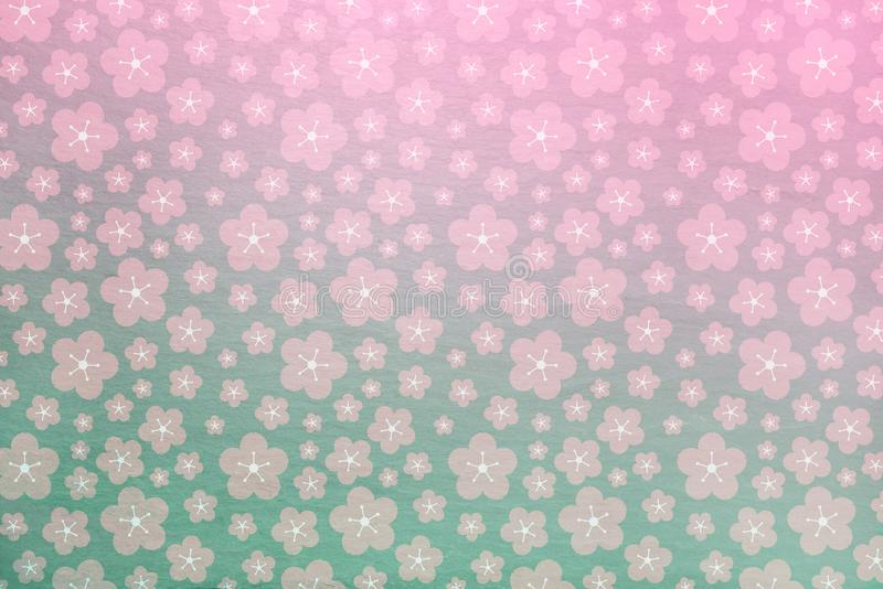 Pink and green sakura spring background with soft stone texture behind - flowers, cherry blossom stock photo