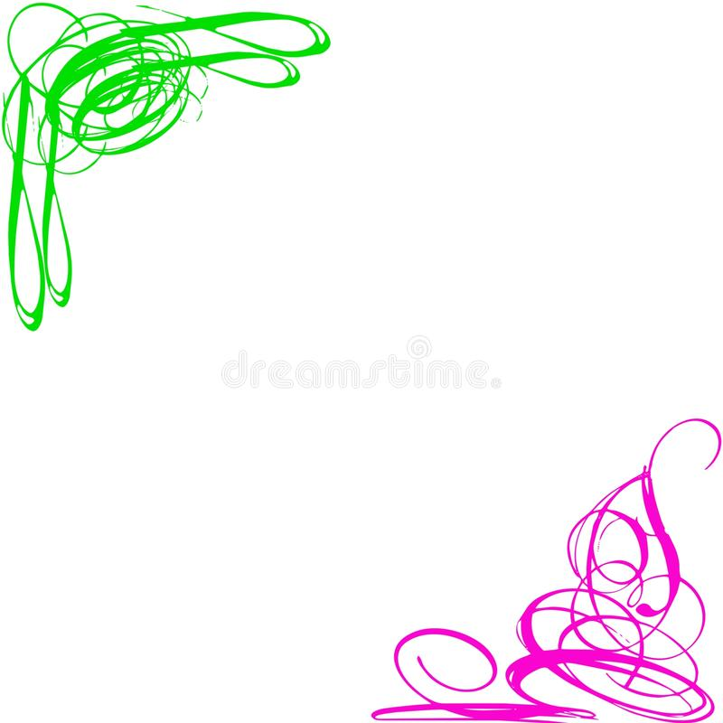 GREEN PINK SWIRLS CORNERS. Pink and green swirls, in fluorescent colors, on corners of a white background stock illustration