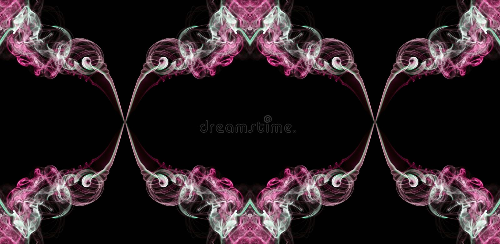 Pink, green and white abstract twisted smoke isolated on black background, formed in circles stock photo