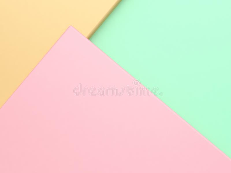 Pink  green yellow pastel color geometric shape tilted minimal abstract background 3d render. Ing stock images