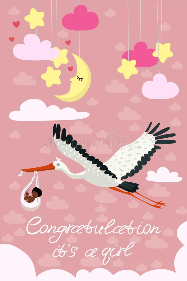 Pink greeting card for the arrival of the girl. A stork carries a cute black child in a bag. Vector postcard stock illustration