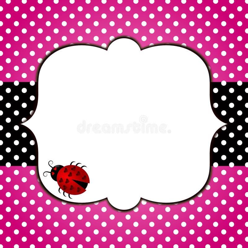 Pink greeting card frame ladybug stock photo