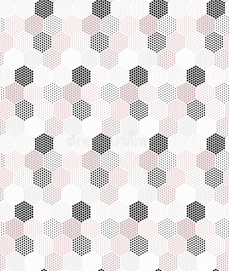 Pink, grey and black hexagons vector seamless repeat pattern stock illustration