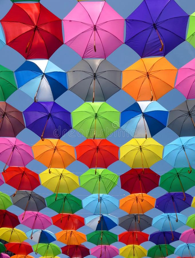 Pink Grey and Green Folding Umbrella Painting royalty free stock image
