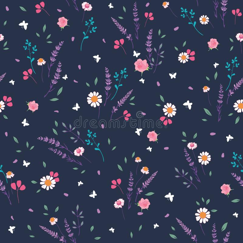 Pink grey roses and daisies ditsy seamless pattern royalty free illustration
