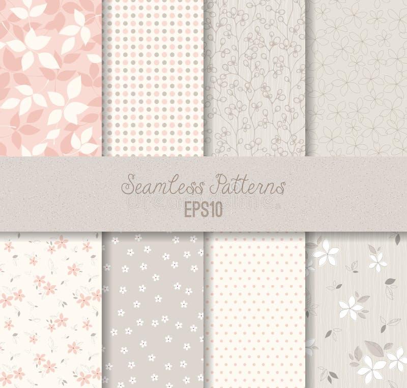 Pink Grey Seamless Patterns royalty free illustration