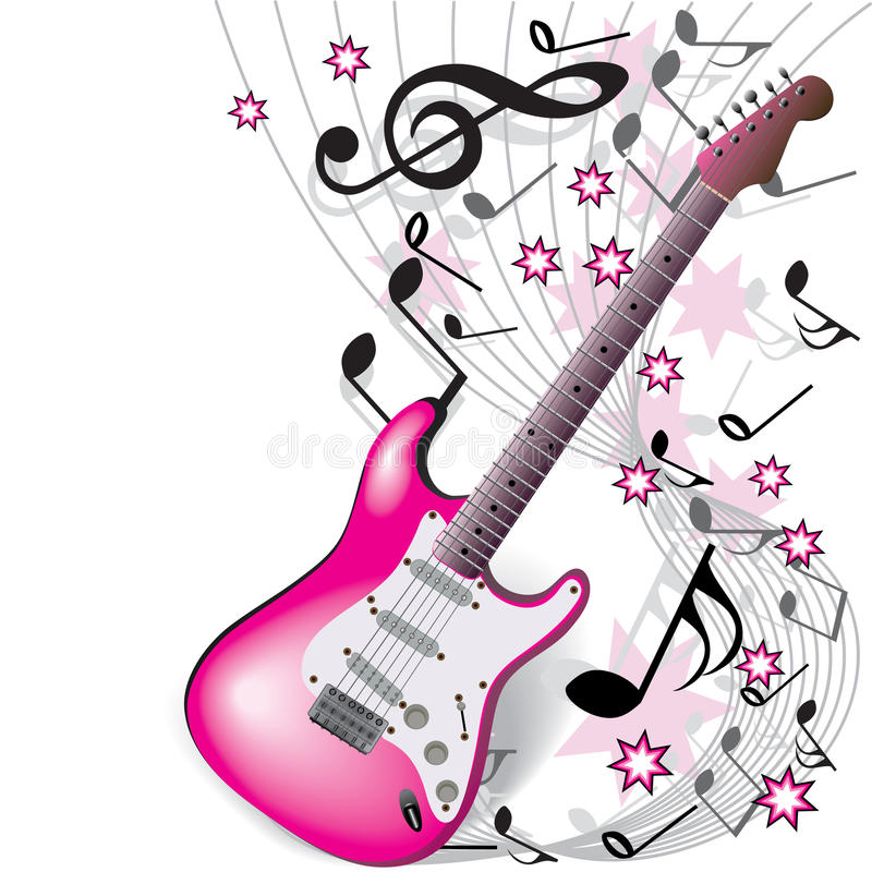 Download Pink guitar stock vector. Image of electric, sound, design - 12356935